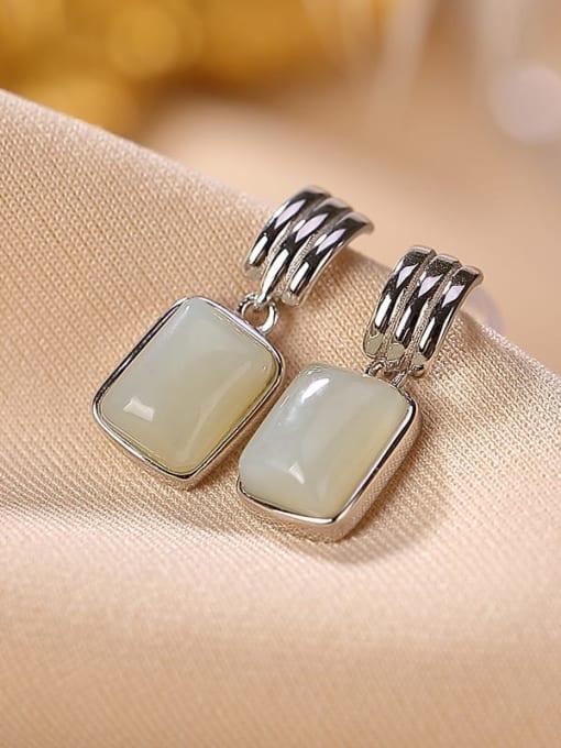 Hotan jade silver 925 Sterling Silver Jade Geometric Vintage Drop Earring