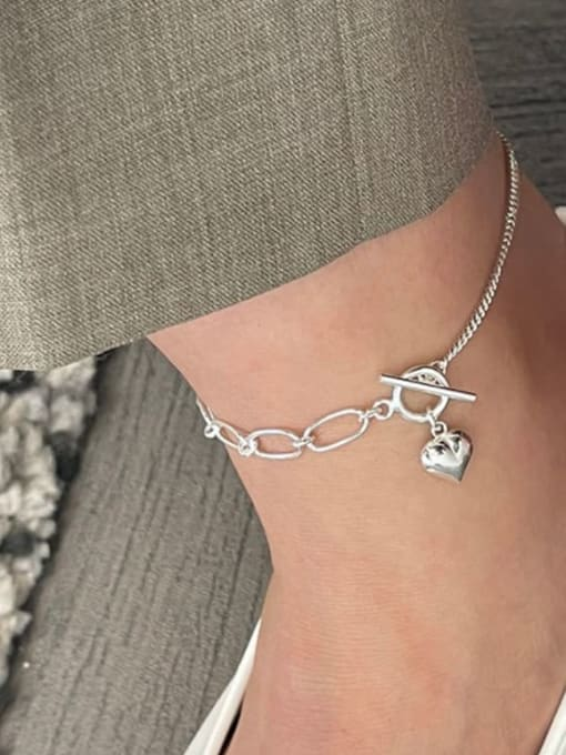 Boomer Cat 925 Sterling Silver Heart Minimalist Asymmetric chain  Anklet 1