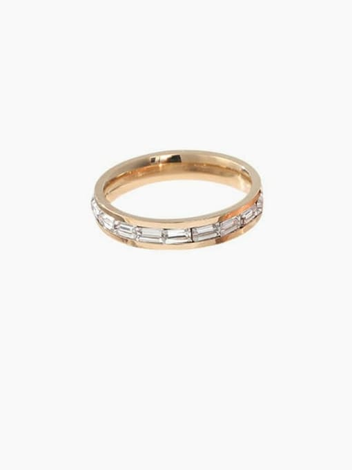 golden Titanium Steel Rhinestone Round Minimalist Band Ring