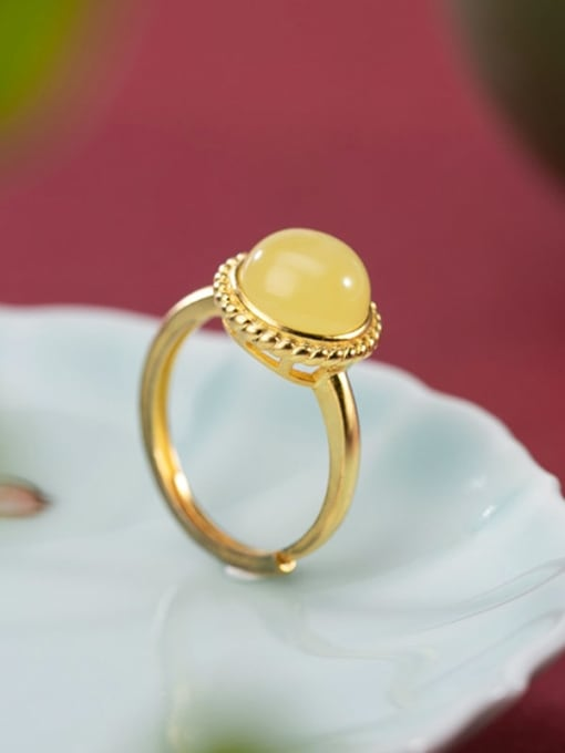 DEER 925 Sterling Silver Amber Round Minimalist Band Ring 1