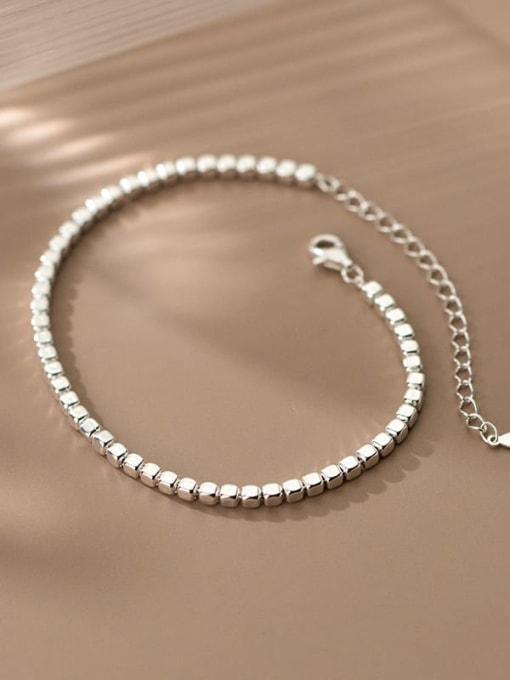 Rosh 925 Sterling Silver Geometric Minimalist Beaded Bracelet 2