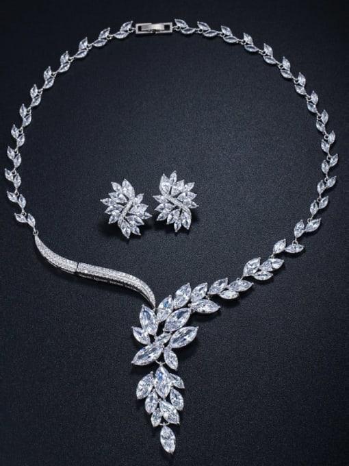 L.WIN Brass Cubic Zirconia  Luxury Flower Earring and Necklace Set