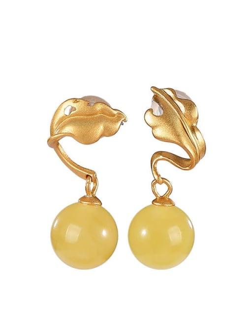 DEER 925 Sterling Silver Amber Leaf Vintage Drop Earring 3