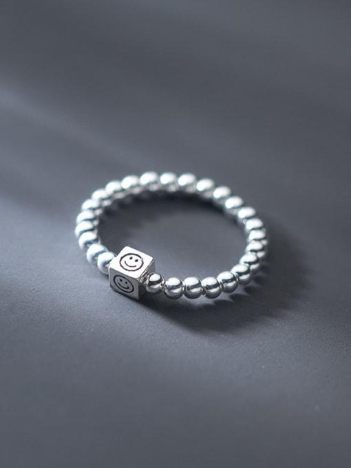 Rosh 925 Sterling Silver Bead Geometric Minimalist Band Ring 2