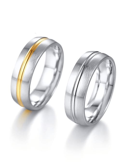 CONG Stainless steel Round Minimalist Couple Ring 0