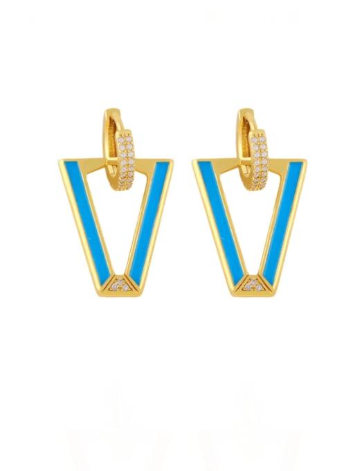 bleu Brass Enamel Triangle Hip Hop Stud Earring