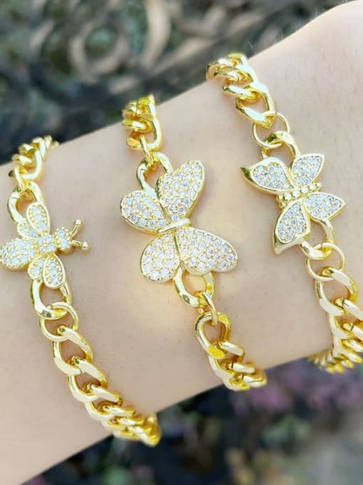 CC Brass Cubic Zirconia Butterfly Vintage Hollow Chain  Bracelet 1
