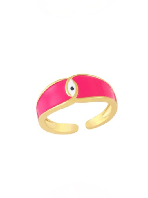 Rose red Brass Enamel Evil Eye Minimalist Band Ring
