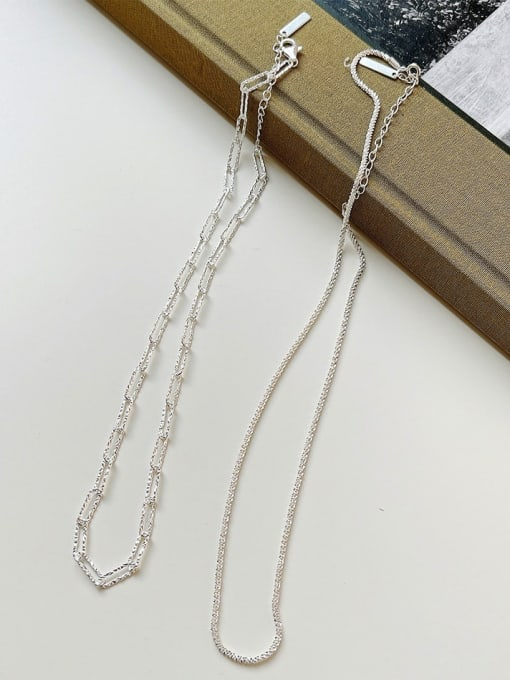 Boomer Cat 925 Sterling Silver Hollow Geometric Chain Minimalist Necklace