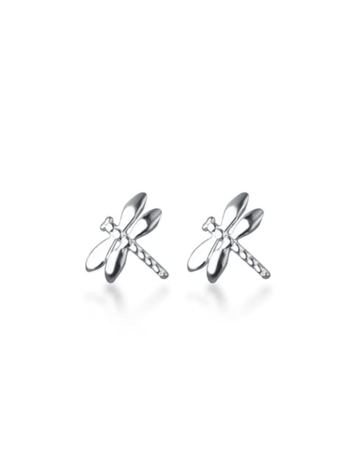 Rosh 925 Sterling Silver Rhinestone Dragonfly Cute Stud Earring 0