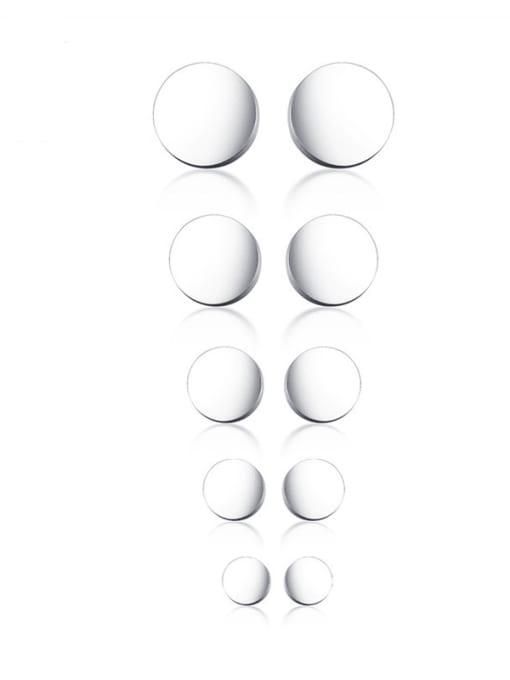 CONG Titanium Steel Round Minimalist Stud Earring