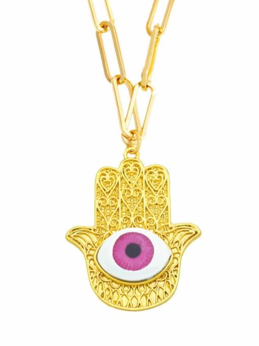 D (Rose) Brass Cubic Zirconia Evil Eye Vintage Necklace