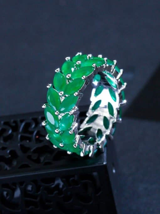 Frosted Green  US  9 Brass Cubic Zirconia Flower Luxury Cocktail Ring
