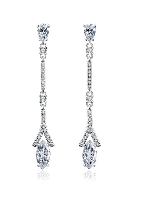 platinum Brass Cubic Zirconia Geometric Dainty Drop Earring