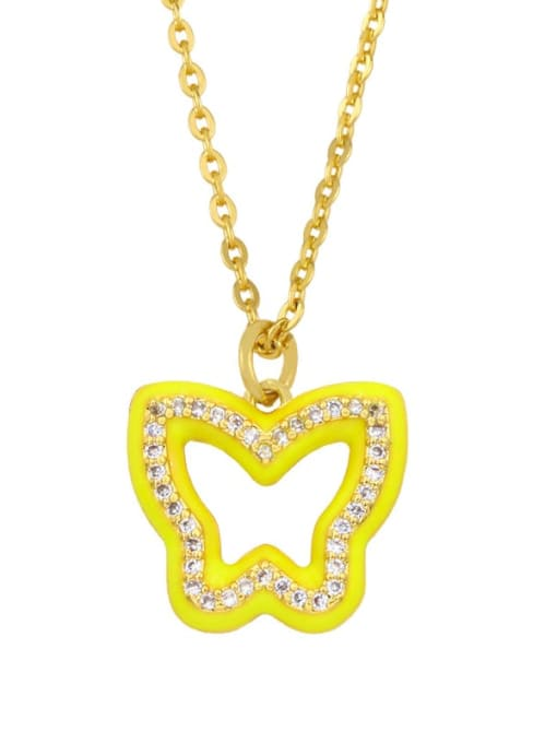 yellow Brass Cubic Zirconia Hollow Butterfly Hip Hop Necklace