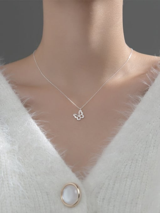 Rosh 925 Sterling Silver Cubic Zirconia Butterfly Minimalist Necklace 3