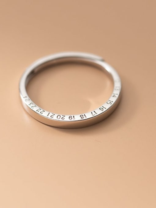 Rosh 925 Sterling Silver Number Minimalist Band Ring 1
