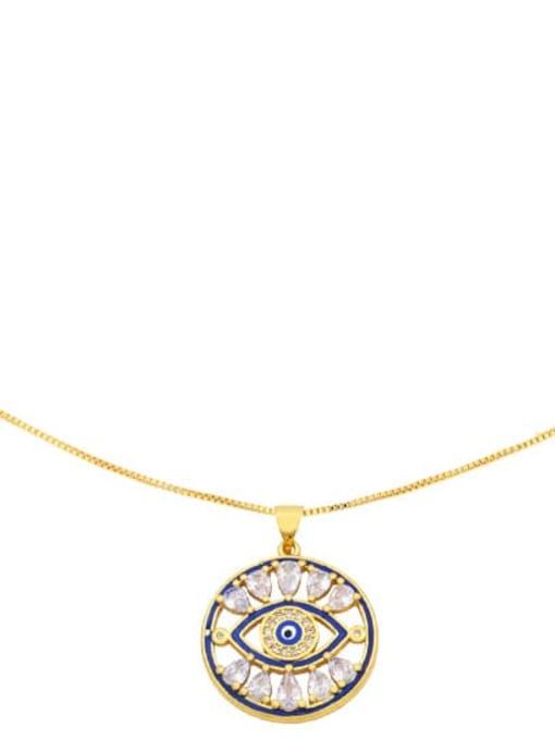 CC Brass Cubic Zirconia Enamel Evil Eye Vintage Necklace 2
