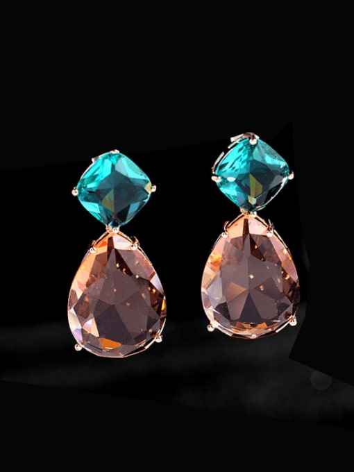 Champagne blue Brass Cubic Zirconia Water Drop Trend Drop Earring
