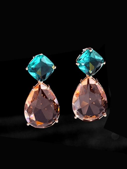 Luxu Brass Cubic Zirconia Water Drop Trend Drop Earring