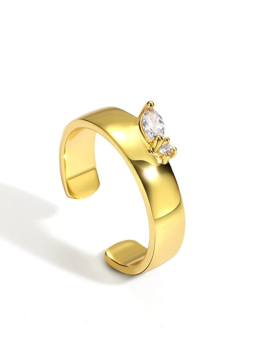 Gold zircon ring Brass Cubic Zirconia Geometric Minimalist Band Ring