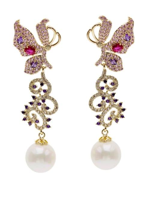 Luxu Brass Cubic Zirconia Butterfly Trend Drop Earring 3