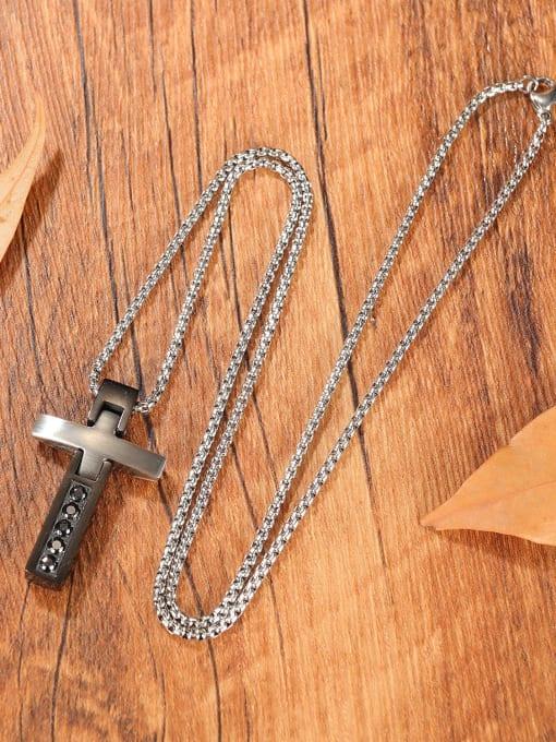 Open Sky Titanium Steel Cubic Zirconia Cross Hip Hop Regligious Necklace 2