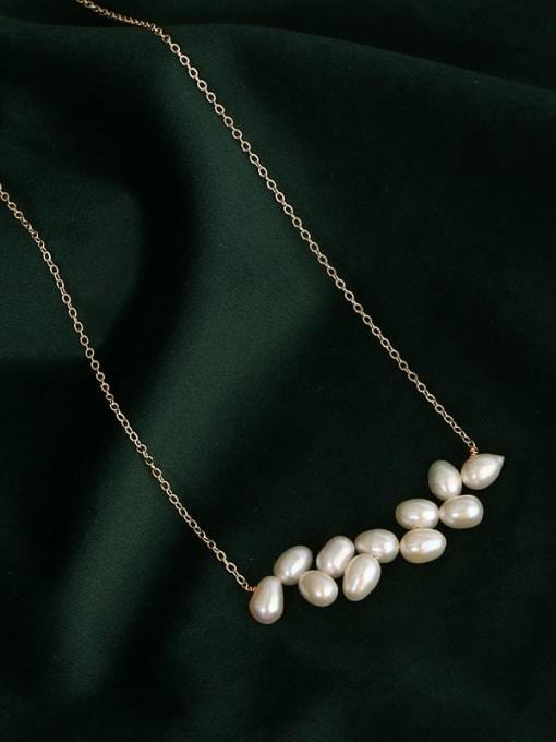 RAIN Brass Freshwater Pearl Geometric Minimalist Necklace 0