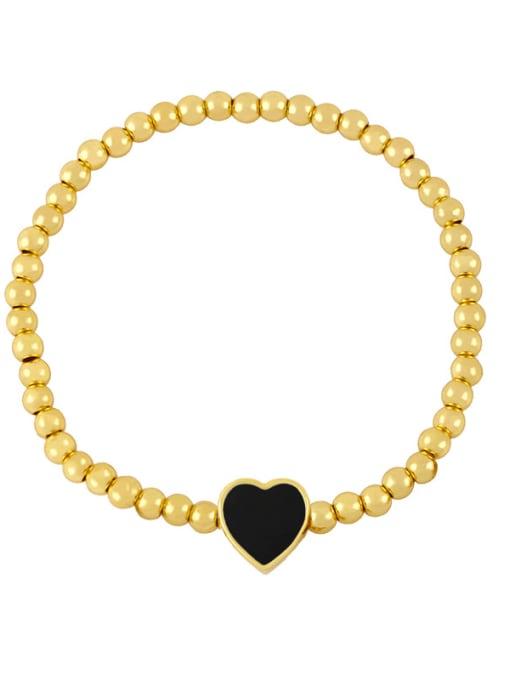 G (black) Brass Enamel Heart Minimalist Beaded Bracelet