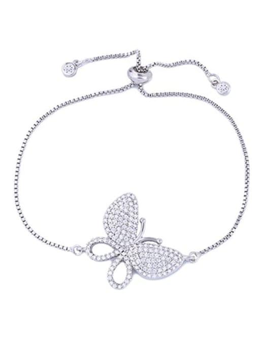 CC Brass Cubic Zirconia Butterfly Dainty Adjustable Bracelet 2