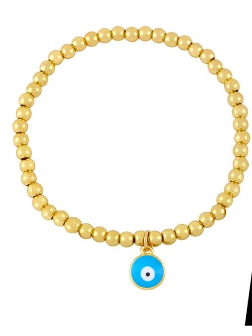 A (blue eyes) Brass Enamel Flower Vintage Beaded Bracelet