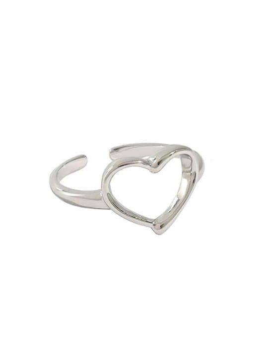 Dak Phoenix 925 Sterling Silver Hollow Heart Minimalist Band Ring 4
