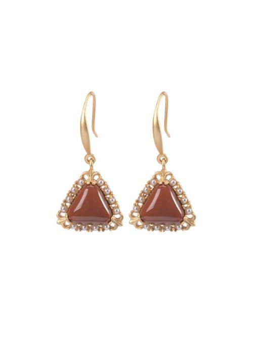 DEER 925 Sterling Silver Carnelian Geometric Vintage Hook Earring