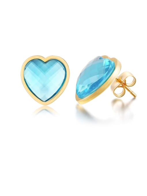 CONG Stainless steel Glass Stone Heart Minimalist Stud Earring