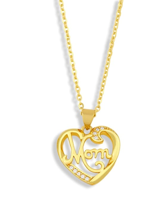 D Brass Cubic ZirconiaMinimalist  Letter Heart Pendant Necklace