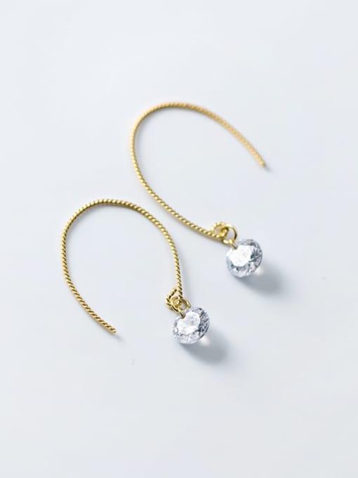 Rosh 925 Sterling Silver Cubic Zirconia Irregular Minimalist Hook Earring 2