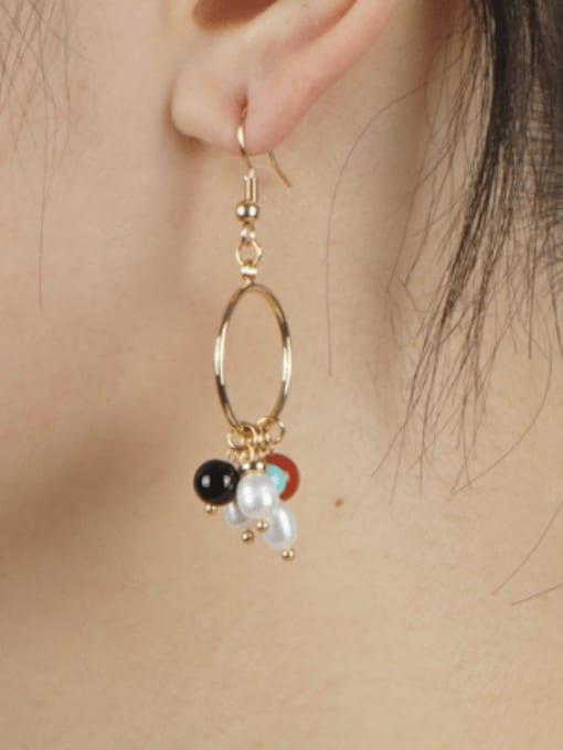 Roxi Stainless steel Freshwater Pearl Geometric Bohemia Hook Earring 1