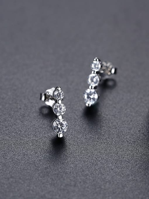 CCUI 925 Sterling Silver Cubic Zirconia Geometric Minimalist Drop Earring 3