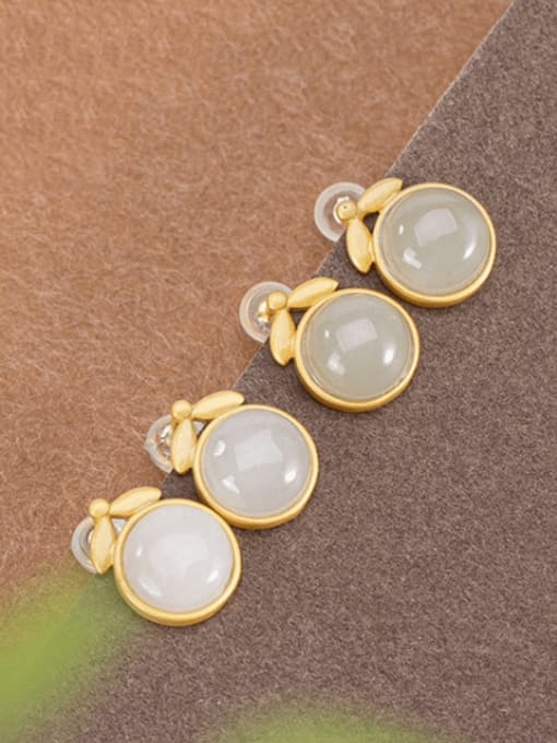DEER 925 Sterling Silver Jade Geometric Minimalist Stud Earring 0