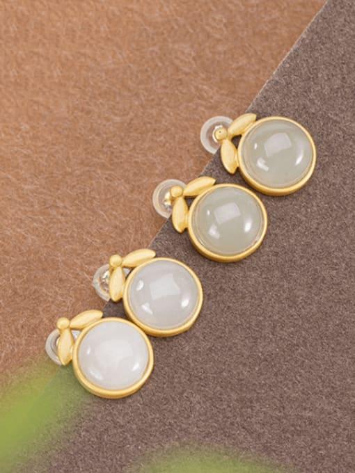 DEER 925 Sterling Silver Jade Geometric Minimalist Stud Earring