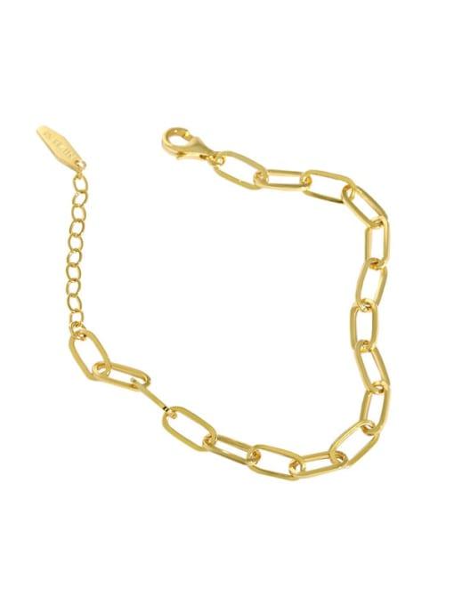 golden 925 Sterling Silver Hollow Geometric Chain Vintage Link Bracelet