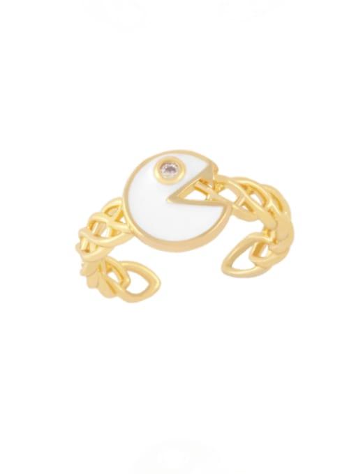 white Brass Enamel Geometric Vintage Band Ring