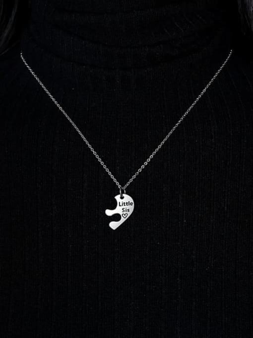 CONG Titanium Steel Heart Minimalist  Letter Penadant Necklace 2