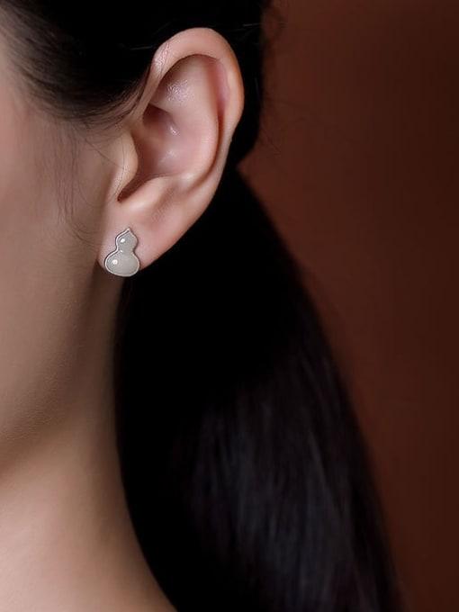 DEER 925 Sterling Silver Jade Geometric gourd  Cute Stud Earring 1