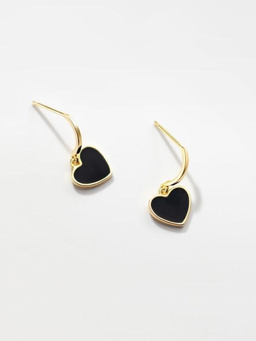 Rosh 925 Sterling Silver Enamel Heart Vintage Stud Earring