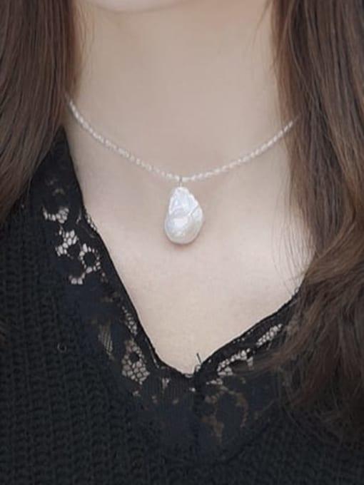 RAIN Brass Freshwater Pearl Irregular Minimalist Necklace 1