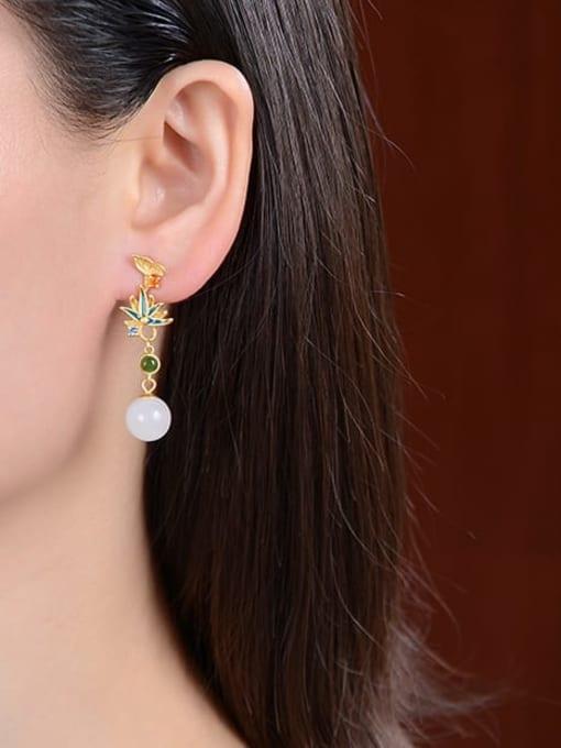 DEER 925 Sterling Silver Jade Enamel Flower Vintage Drop Earring 1