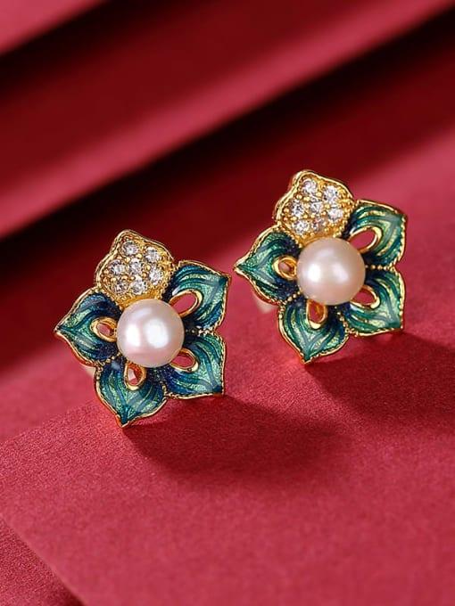 DEER 925 Sterling Silver Imitation Pearl Enamel Flower Vintage Stud Earring