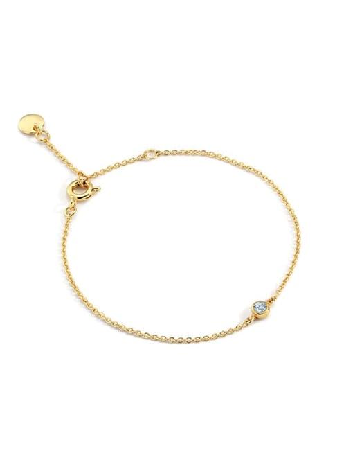 Grey blue diamond Brass Rhinestone Geometric Minimalist Link Bracelet