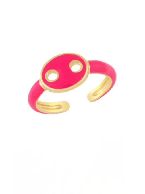 Rose red Brass Enamel Geometric Minimalist Band Ring